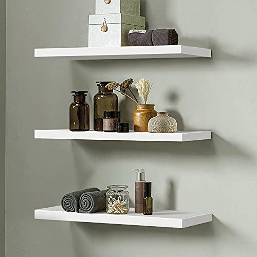 Set di 3 mensole da parete in legno sospese, da parete, per la casa o per l'organizzazione e l'esposizione con supporti invisibili, colore: bianco