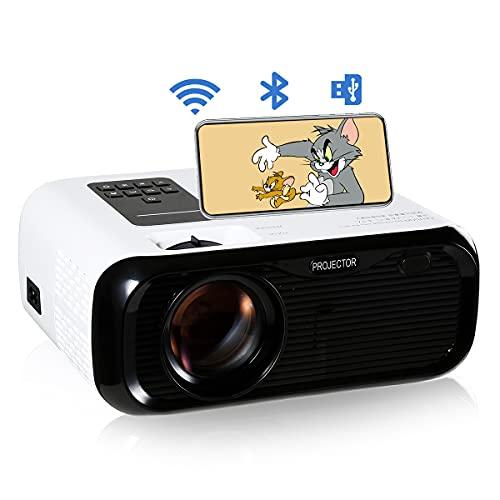 Harsso Mini proyector de vídeo Pro Home Cinema, con pantalla de espejo 7000 lúmenes Full HD 1080P portátil 100000 horas compatible con WiFi Bluetooth TV PS4 PC VGA AV USB portátil smartphone
