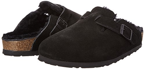 Birkenstock BIRKENSTOCK Damen Boston Lammfell Clogs, Schwarz (Black/Black), 40 EU