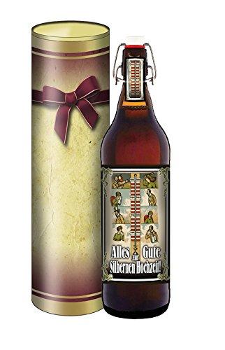 Silberhochzeit, Bier 1 Liter Flasche mit Bügelverschluss in der Geschenkdose im Schleifendesign