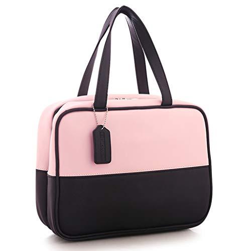 Sac cosmétique Femme Grande Capacité Corée Mignon Simple Portable Portable Sac de lavage étanche Sac à main Sac de rangement (Color : PINK, Size : 24 * 8 * 22CM)