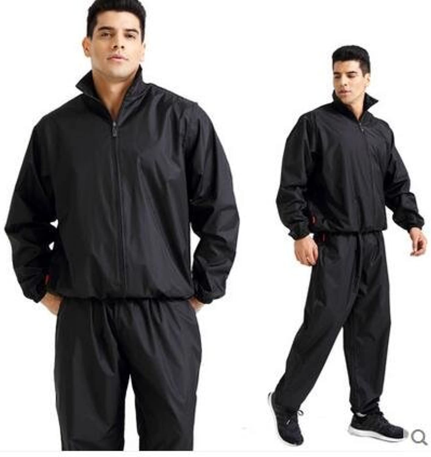 Elwow Men's Plus Size Two Piece Non Rip Sauna Suit, Sweat Suit, Track Weight Loss Slimmimg Fitness Gym Exercise Boxing Runing Loss Weight Training Suit, Long Top and Trousers