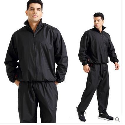 Elwow - Tuta da sauna da uomo, taglia forte, 2 pezzi, senza strappo, per la perdita di peso, per la perdita di peso, per fitness, palestra, boxe, corsa, perdita di peso, tuta lunga e pantaloni (XXXL)