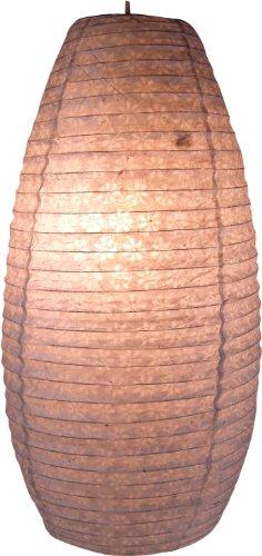 Guru-Shop Ovaler Lokta Papierlampenschirm, Hängelampe Corona, Natur-weiß, Lokta-Papier, Farbe: Natur-weiß, 50x30x30 cm, Asiatische Deckenlampen aus Papier & Stoff