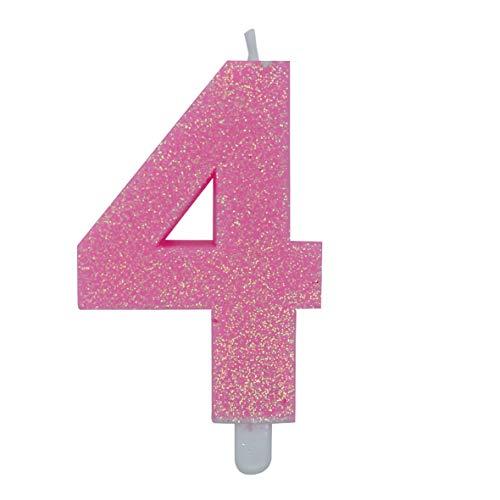 big-party Candeline Numerali Glitter Vari Colori h 15 cm (4, Fucsia)