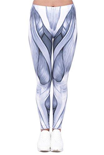 Hanessa Frauen Leggins Bedruckte Leggings Geschenk zu Weihnachten Hose Frühling Sommer Kleidung Anatomie Muskel-gewebe L197