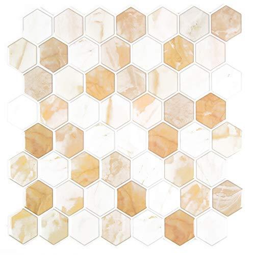 Unishop Set 6 Láminas de Azulejos Adhesivos para Pared, Efecto 3D e Impermeables, Vinilo Decorativo con Pegatina para Cocina y Baño (Tipo 3)