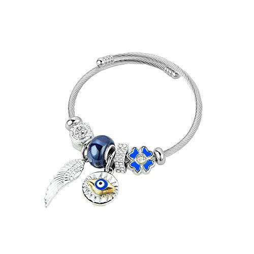 MiniJewelry Pulseras expandibles para el mal de ojo de cristal de Murano, colgante de ala de ángel, regalo para mujeres y niñas, cumpleaños