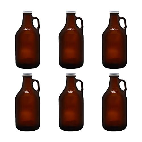 6 Amber Colored Beer Growlers Set, 32 oz. - Brewery, IPA, Lager - Amber