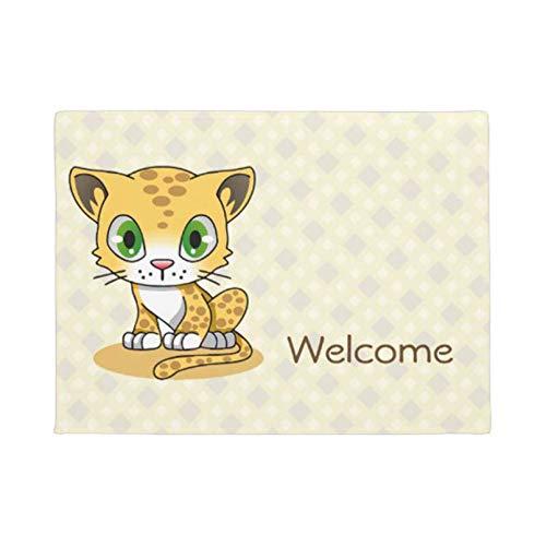 """MAZIHAN Personalidad Lindo bebé Gato Leopardo Dibujos Animados BienvenidoFelpudo decoración del hogar Entrada Alfombra de Puerta Antideslizante Alfombra de Piso Lavable de Goma- 16""""x24"""""""