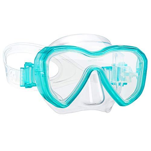 Dorlle Kinder Taucherbrille Tauchmaske,Anti-Fog und Anti-Leck Schnorchelbrille Schwimmbrille Wasserdicht Tempered Glas Maske für Kinder,Grün
