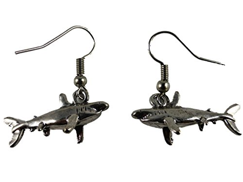 Ohrringe Ohrhänger Hänger Hai Haifisch Fisch Meer Aquarium Wasser 7080