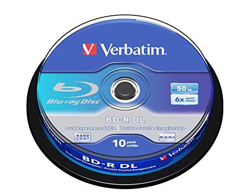 VERBATIM BD-R Dual Layer Blu-ray Rohlinge 50 GB I Blu-ray-Disc mit 6-facher Schreibgeschwindigkeit I mit Kratzschutz I 10er-Pack Spindel I Blu-ray-Disks für Video- und Audiodateien