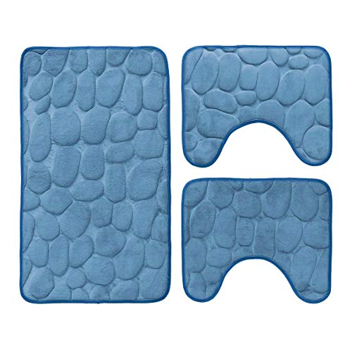 Carillo Set 3 pz Tappetini da Bagno Antiscivolo Sassolini Tappeti Memory Foam R291 Azzurro