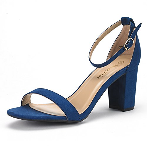 DREAM PAIRS Women's Chunk Navy Suede Low Heel Pump Sandals - 8 M US