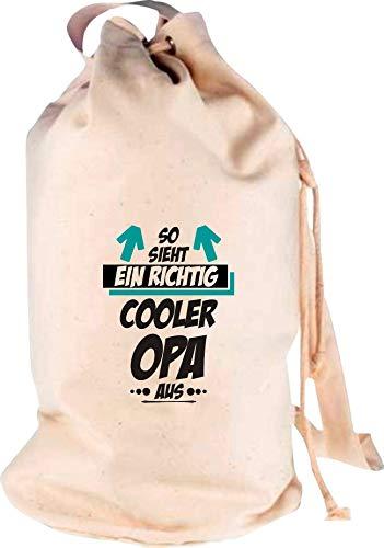 Shirtstown Sac à Dos de Voyage avec Logo et Inscription « So Sieht EIN Richtig Cooler Opa », Naturel, 30 cm x 53 cm x 30 cm