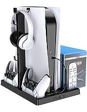 Benazcap PS5 縦置きスタンド コントローラー充電&機体冷却ファン&収納 多機能 タッチスクリーン&Led& USBハブ付き 1年保証(ブラック)
