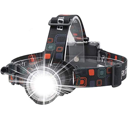 BORUiT RJ-2166 1000 Lumens T6 LED Headlamp with White Light,3 Modes Zoomable Headlight Flashlight,IPX4 Waterproof Head Torch Perfect for Running, Camping, Hiking & More(Black)