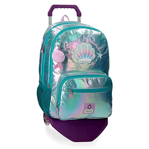 Enso Mochila Doble Compartimento con Carro Be a Mermaid, Color Verde