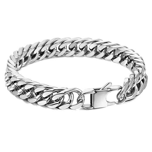 Hermah Mens Bracelet Chain 316L Stainless Steel Gold Plated Punk Double Curb Cuban Rombo Link 10mm 8inch