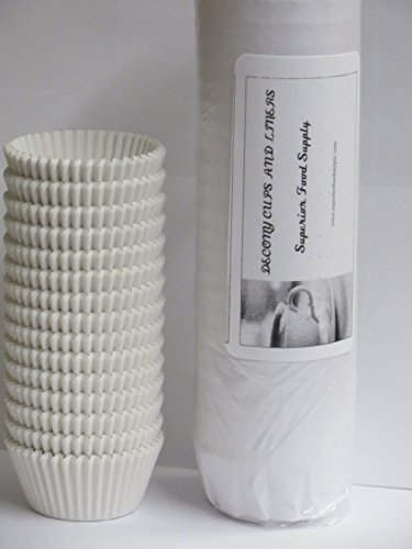 DECONY White Standard Size Cupcake Paper Fluted Baking Cup Liners - 2'' x 1-1/4=4.5 - appx.500/ pack