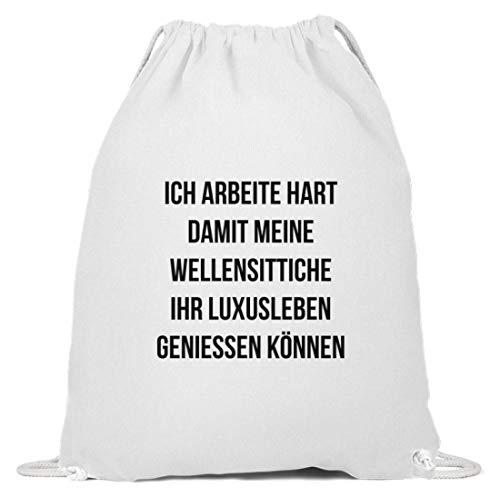 shirt-o-magic Vogel: Ich arbeite für Wellensittiche - Baumwoll Gymsac -37cm-46cm-Weiß
