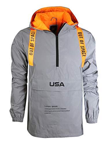 SCREENSHOTBRAND-S51952 Reflective Hooded Waterproof Windbreaker - Outdoor Sportswear Fluorescent Jacket-Neon/Orange-XLarge