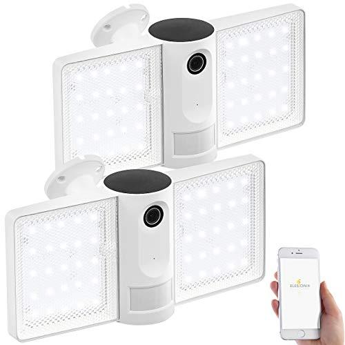 VisorTech Kamera Bewegungsmelder: 2er-Set Full-HD-IP-Überwachungskameras mit LED-Strahler, WLAN, App (LED Strahler mit Bewegungsmelder)