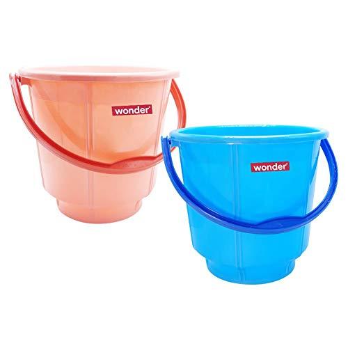 Wonder Plastic Prime Bucket Set, 2 Bucket, 5 Liters, Pink & Blue Color, Made in India