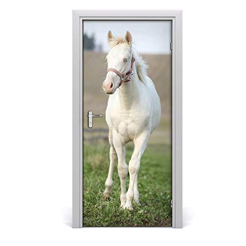 Tulup Pegatina de la puerta - 95x205cm - Etiqueta Autoadhesivo Decoración impermeable Reutilizable - habitación sala de estar - Pared del caballo albino
