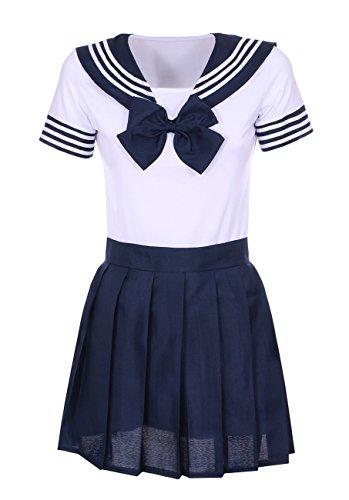JapanAttitude Tenue écolière Japonaise Blanche et Bleue avec Noeud Papillon Cosplay - M