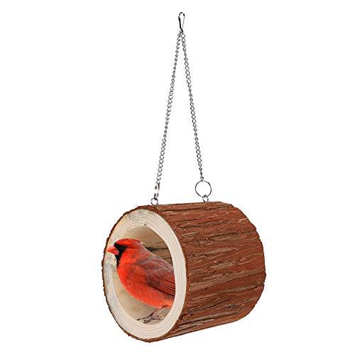 Cikonielf Mascota árbol de Madera Agujero hámster Colgante Nido pájaro Columpio Cadena Cama Animal pequeño Hamaca Madera casa para Dormir