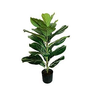 "Silk Flower Arrangements BESAMENATURE 30"" Little Artificial Fiddle Leaf Fig Tree / Faux Ficus Lyrata for Home Office Decoration"