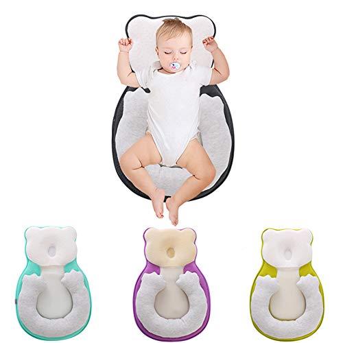 ZXLLO Babykissen Unisex Säuglingsunterstützung Neugeborene Liegekissen Netter Bärenkomfort Neugeborenes Nest Nest Tragbare Zwischen 0 bis 12 Monate,Schwarz