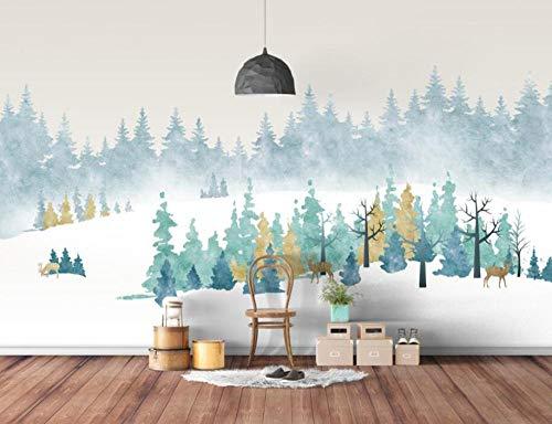 3D wallpaper modern minimalistische retro American Elk bos achtergrond muur decoratief schilderij 3D wallpaper wgop 400 x 280 cm.