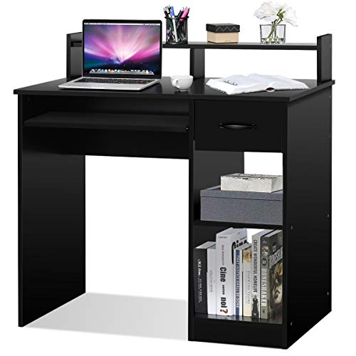 Tangkula Computer Desk, Home Office Wooden PC Laptop Desk, Modern Simple Style Wood Study Workstation, Writing Table with Storage Drawer & Shelves, Wooden Furniture (Black)