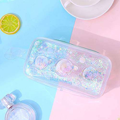 Flurries Dynamic Liquid Oil Quicksand Transparent Pen Pencil Case - Large Capacity Zipper Bag Box Pouch Holder - Stationery Supplies Make-up Brushes Electronic Device Accessories (Dream Planet)