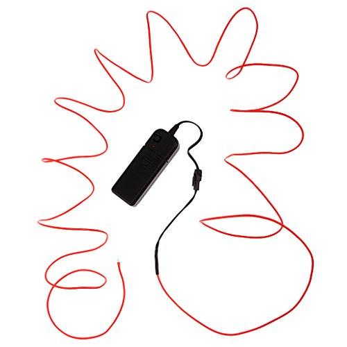 5M EL Kabel Neon Licht Effekt Lichtschnur Leuchtschnur Draht Wire Auto Party - Rot