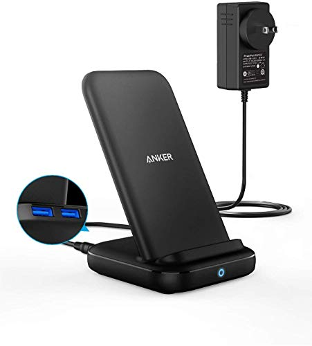 Anker PowerWave 10 Stand with 2 USB-A Ports ワイヤレス充電器 ACアダプタ付属 Qi認証 iPhone 12 / 12 Pro 各種対応 最大10W出力 (ブラック)