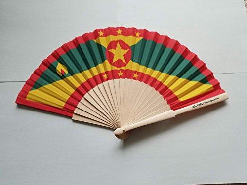 Fans Of Our Nation Grenada Flagge Stoff Falten Hand Fan mit Bambus Handgriff