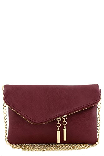 Envelope Wristlet Clutch Crossbody Bag with Chain Strap (Burgundy)