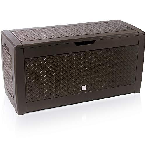 Deuba Baúl de almacenaje Marrón Cofre con Capacidad de 310 L arcón Banco Almacenamiento Trenzado contenedor de jardín
