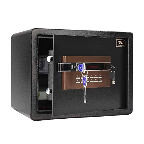 TIGERKING Digital Security Safe Box for Home Office Hotel-Double Safety Key Lock and Password, Steel Home Safes, 1.2 Cubic Feet