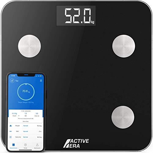 ACTIVE ERA Körperfettwaage - Digitale Personenwaage mit App - Smart Bluetooth Waage für Körperanalyse - Körperfett, BMI, Gewicht (max. 180 kg), Muskelmasse, Wasser, Protein, Knochengewicht - Schwarz