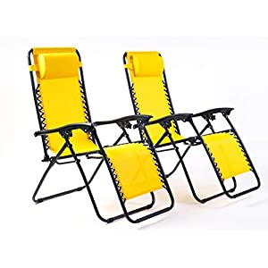 Bravich Weatherproof Set of 2 Zero Gravity Chairs - Yellow