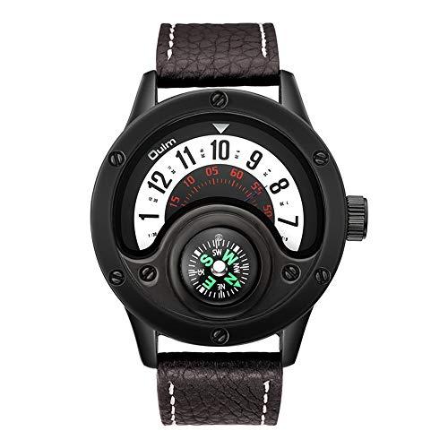 Relojes De Pulsera Personalizados para Hombre Brazalete De Cuarzo Analógico Correa De Cuero Esfera Impermeable con Brújula para Decoración De Moda Juvenil