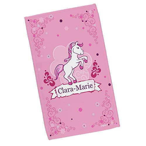 Striefchen® Kinderhandtuch mit Namen für Mädchen mit Pferd-Motiv Pink Pony in 2 Größen 30 x 50 cm