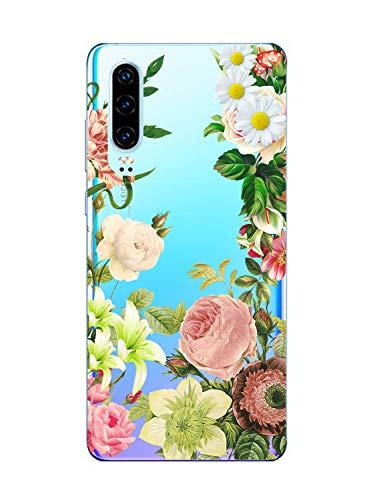Suhctup Moda Coque Compatible pour Huawei Mate 8,Transparent Silicone TPU Souple Étui avec [Motif Fleur] Crystal Ultra Fine Shock-Absorption Antichoc Protection Housse Cover Case(Fleur 7)