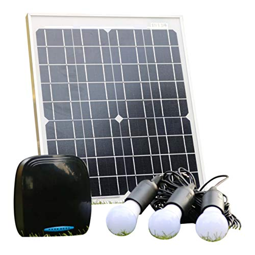 PK Green 20W 12V Solar Lighting System with Powerful Lightweight Lithium Battery, 3 x 3W DC LED Bulbs, Solar Panel | Off Grid Kit for Garage Shed Camping Boat | Solar Power Bank Mobile Phone Charger