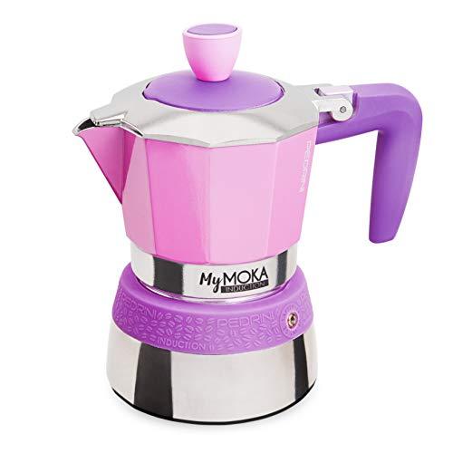 PEDRINI MyMoka Kaffeemaschine für Induktionskochfeld, 3-Tassen-Format, Espressokocher Moka Cottoncandy Farbe (Violett), Stahl außen, Aluminium innen, italienisches Design, Maße 15 x 9 x 15 cm